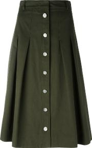 Vanessa Seward , A Line Button Skirt Women Cotton 36, Women's, Green