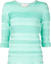 Christian Siriano , Striped Knit Top Women Polyesterspandexelastane 6, Women's, Green