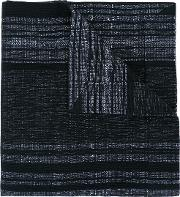 A New Cross , Artisanal Shawl With Magnet Fastening Men Cottonviscose One Size, Black