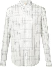 Baldwin , Checked Shirt Men Cotton S, White