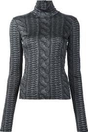 Christian Siriano , Cable Knit Print Roll Neck Top Women Viscose 6, Black