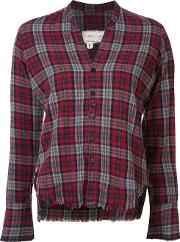Greg Lauren , Cropped Frayed Checked Shirt Women Cotton 3, Red