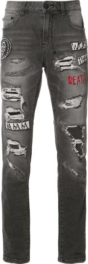 Haculla , Patches Ripped Jeans Men Cottonpolyester 30, Black