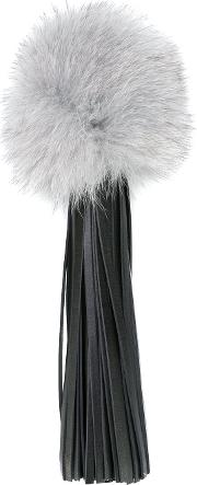 Sara Battaglia , Fringed Pom Pom Keyring Women Calf Leatherfox Fur One Size, Black