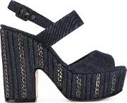 Le Silla , Denim Platform Sandals Women Cottonleather 37, Blue
