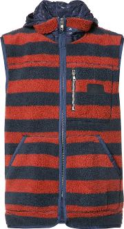 Prps , Sleeveless Striped Hoodie Men Polyester L, Blue