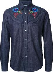 Taakk , Embroidered Detailing Shirt Men Cotton 1, Blue