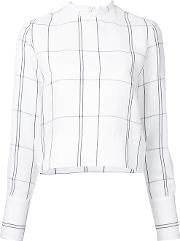 Studio Nicholson , Checked Long Sleeve Top Women Linenflaxviscose 1, White