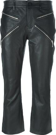 Alexander Wang , Cropped Calf Leather Trousers Women Calf Leatherpolyesterspandexelastane 4, Black