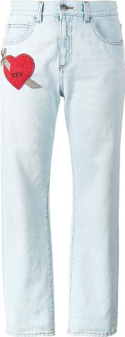 Gucci , Embroidered Heart Jeans Women Cotton 30, Blue