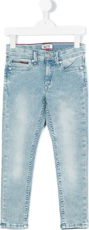 Tommy Hilfiger Junior , Stonewashed Jeans Kids Cottonpolyesterspandexelastane 4 Yrs, Blue
