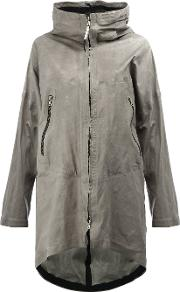 Isaac Sellam Experience , Crease Effect Hooded Coat Women Calf Leather 36, Grey