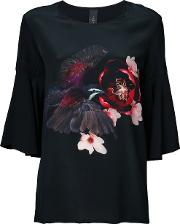 Romance Was Born , 'magnolia Dove' Frill T Shirt Women Silk 10, Women's, Black