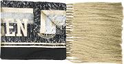 Astrid Andersen , Printed Frayed Scarf Men Polyester One Size, Grey
