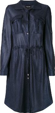 Giorgio Armani , Drawstring Shirt Dress Women Polyamide 40, Blue