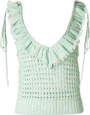 Philosophy Di Lorenzo Serafini , Ruffle Trim Open Knit Top Women Cotton 42, Green