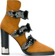 Toga Pulla , Buckle Strap Ankle Boots Women Leatherpatent Leathersuede 38, Brown