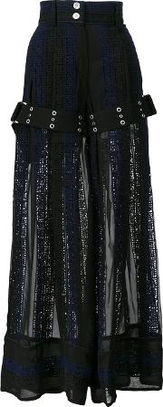 Sacai , Calligraphy Embroidered Palazzo Pants Women Cottonpolyester 2, Blue