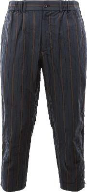 08sircus , Striped Cropped Trousers Men Cottoncupro 5, Blue