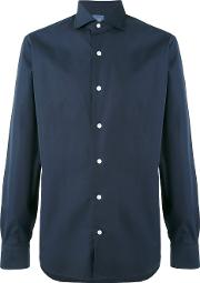 Barba , Simple Shirt Men Linenflax 41, Blue