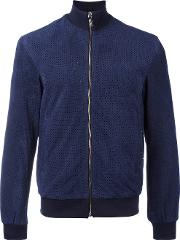 Bikkembergs , Perforated Jacket Men Goat Skinpolyamidepolyesterviscose 52, Blue