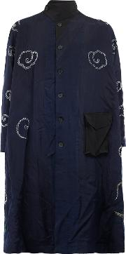 By Walid , Contrast Floral Embroidery Coat Men Silk S, Blue