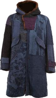 By Walid , Embroidered Hooded Coat Men Silkcottonmink Fur S, Blue