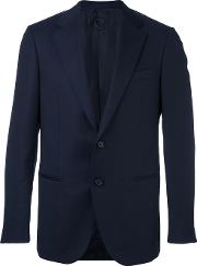 Caruso , Notched Lapel Blazer Men Cuprowool 54, Blue