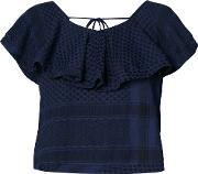 Cecilie Copenhagen , V Back Ruffle Top Women Cotton 1, Blue