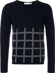 Comme Des Garcons Shirt , Cut Out Grid Check Jumper Men Wool S, Blue