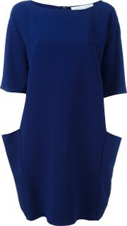Gianluca Capannolo , Draped Back Shift Dress Women Acetateviscose 42, Blue