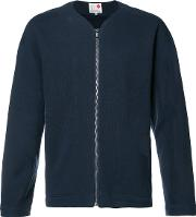 Ikiji , Fleecy Lined Zipped Sweatshirt Men Cottonpolyester L, Blue