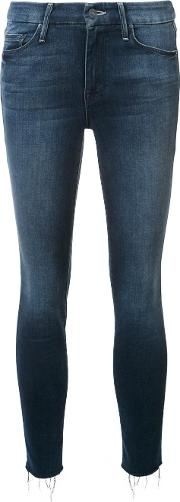 Mother , Cropped Skinny Jeans Women Cottonpolyesterspandexelastane 24, Blue