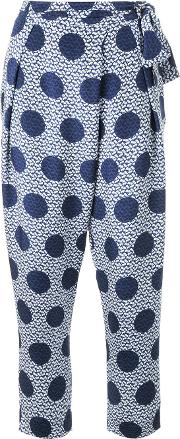 Mother Of Pearl , Polka Dot Print Trousers Women Silk 12, Blue