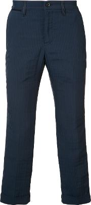 Sacai , Pinstriped Crop Trousers Men Cottonpolyester 2, Blue