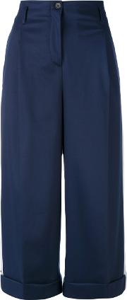 Semicouture , Classic Cropped Trousers Women Polyesterspandexelastaneviscose 42, Blue