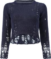 Song For The Mute , Destroyed Effect Cropped Blouse Women Cotton 1, Blue