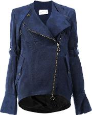 Song For The Mute , Fitted Biker Jacket Women Linenflaxcuprorayon 40, Blue