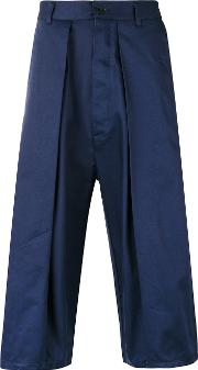 Sunnei , Pleated Cropped Trousers Men Cotton M, Blue