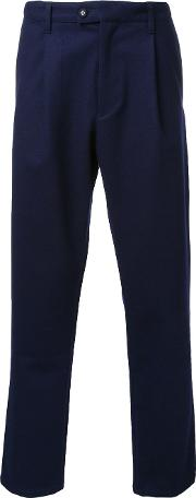 Taakk , Pleated Detailing Cropped Trousers Men Wool 2, Blue