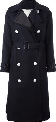 The Reracs , Double Breasted Trench Coat Women Cottonpolyestersilkcupro 36, Blue