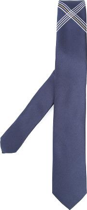 Title Of Work , Cross Detail Tie Unisex Silk One Size, Blue
