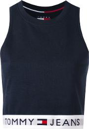 Tommy Jeans , Cropped Tank Top Women Cottonpolyesterspandexelastane S, Blue