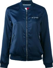 Tommy Jeans , Embroidered Panelled Bomber Jacket Women Polyesterspandexelastane Xs, Blue