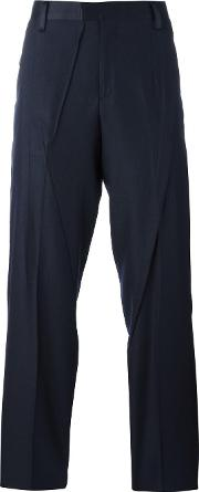Undercover , Creased Tailored Trousers Men Woolcuprosilkpolyester 2, Blue
