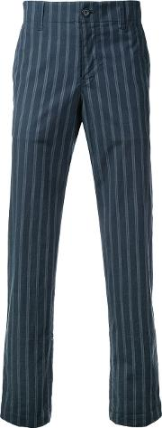 Undercover , Striped Trousers Men Cottonpolyurethanecupro 2, Blue