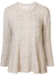Ryan Roche , Flared Cable Knit Jumper Women Cashmeremohair S, Women's, Nudeneutrals