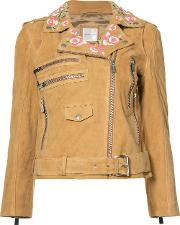 Anine Bing , Embroidered Biker Jacket Women Viscosegoat Suede S, Women's, Nudeneutrals