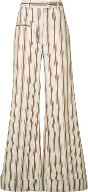 Rosie Assoulin , B Boy Striped Palazzo Pants Women Cottonlinenflax 4, Nudeneutrals