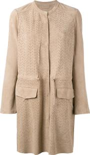 Meteo By Yves Salomon , Perforated Jacket Women Goat Suede 40, Brown